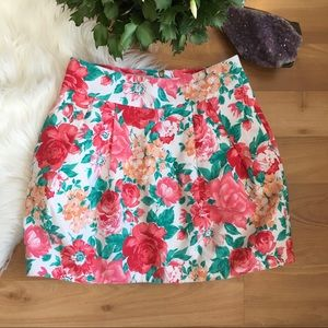 Zara TRF pink rose mini lined bubble skirt